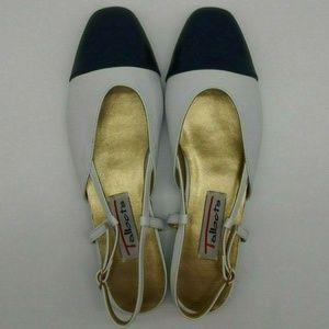Talbots Cap Toe Slingback Flats Shoes Size 6.5 B